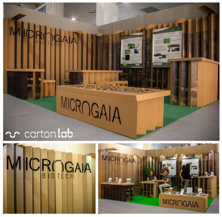 Stand de cartón para Microgaia en IFEPA. Biotecnología eventos. Creado por Cartonlab. Cardboard booth for Microgaia at IFEPA. Biotech events. Created by Cartonlab. Folds.