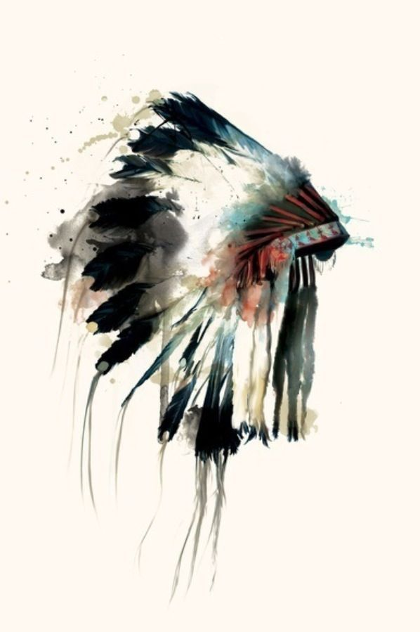 Native American painting of a war bonnet