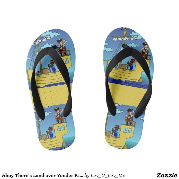 Ahoy There's Land over Yonder Kid's Flip Flops Thongs