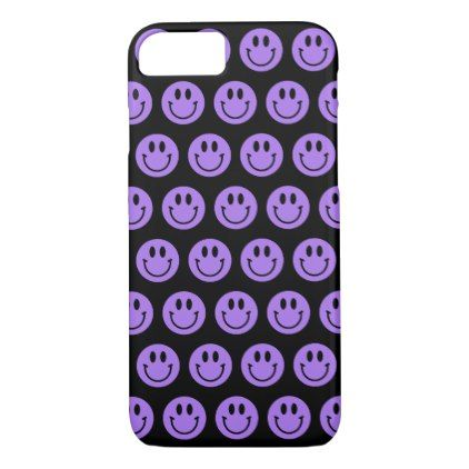 #Purple Smiley Faces iPhone Case - #emoji #emojis #smiley #smilies