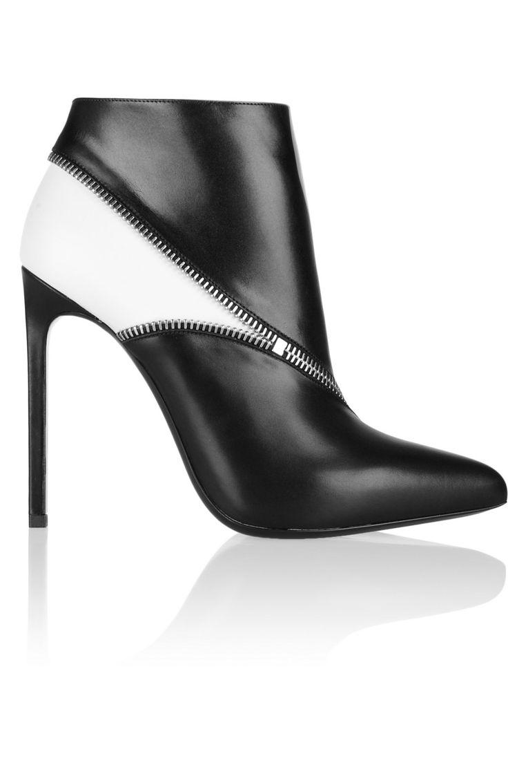 Saint Laurent|Two-tone leather ankle boots|NET-A-PORTER.COM