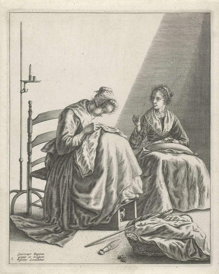 Twee naaiende vrouwen, Geertruydt Roghman, Claes Jansz. Visscher (II), 1648 - 1650