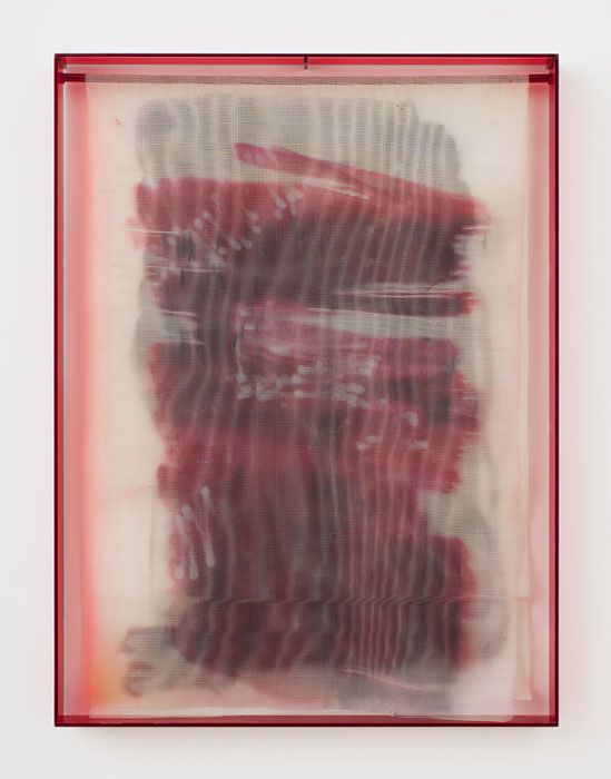 "Strauss Bourque-LaFrance, ""Bloodbrother Boo,"" 2014, plexiglas, plastic mesh and spray enamel, 40 x 30 x 2.25 inches. (as seen at Rachel Uffner on Oct. 19, 2014)"