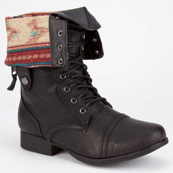 Diva Lounge Jetta Womens Military Boots ($40) ❤ liked on Polyvore featuring shoes, boots, black, mid-calf boots, fold-over boots, fold-over combat boots, foldover combat boots, black fold over boots and army boots