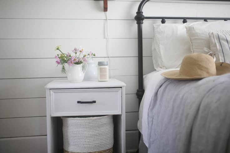 our farmhouse bedroom in the summertime