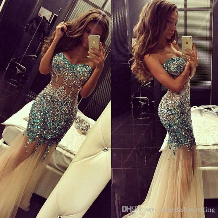 Sparkly Mermaid Prom Dresses Artificial Rhinestone Crystals Sweetheart Champagne Tulle Beaded Long Sweet Evening Pageant Gowns Sheer 2016 Online with $157.07/Piece on Nameilishawedding's Store | DHgate.com