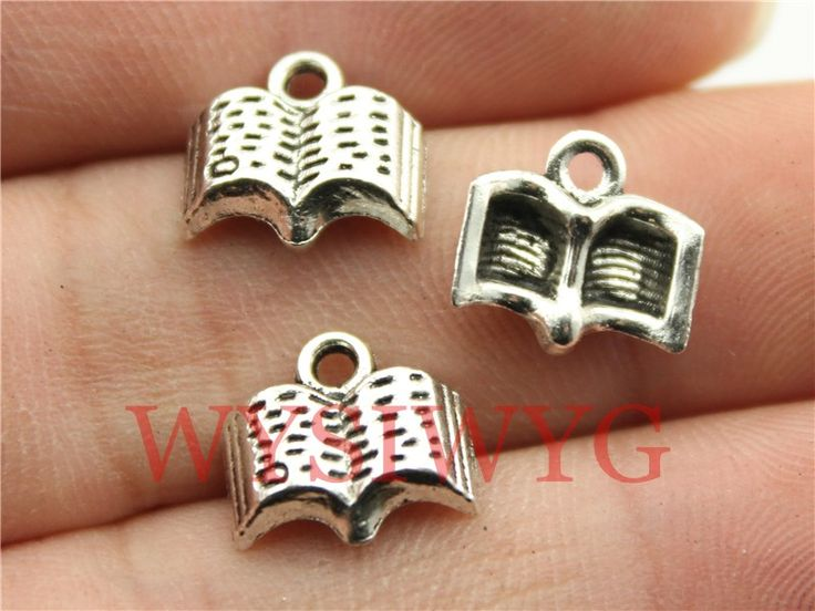 WYSIWYG 15pcs 11mm antique silver book charms