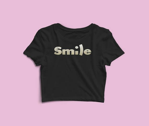 Women's Crop Tee - Smile Crop Top - Yoga Clothes - Ladies Crop Tee - Gift For Her - Valentines Day - Gym Crop Tee - Girlfriend Gift. The season's trendiest garment - the crop top. This top is tight-fitting and hits just above the navel