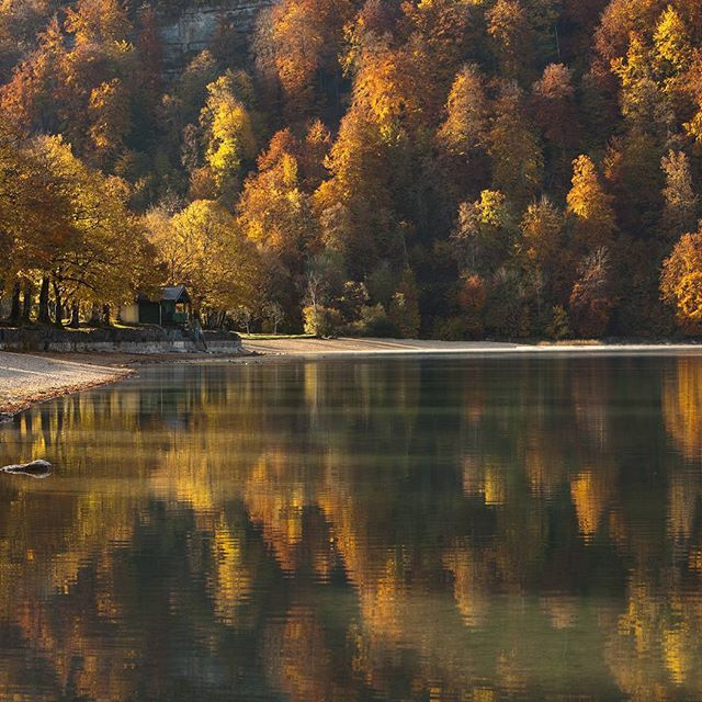 Le Lac de Chalain, la perle du Jura. Magique en automne    Photo Stéphane Godin/Jura Tourisme   Jura, France   #JuraTourisme