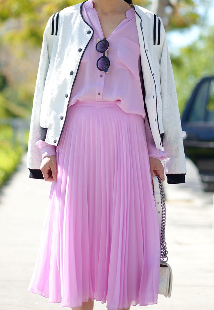 Bomber and pleats.
