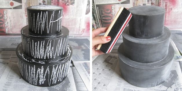 chalkboard cake diy - I wont do chalkboard but for our faux cake for spring window?