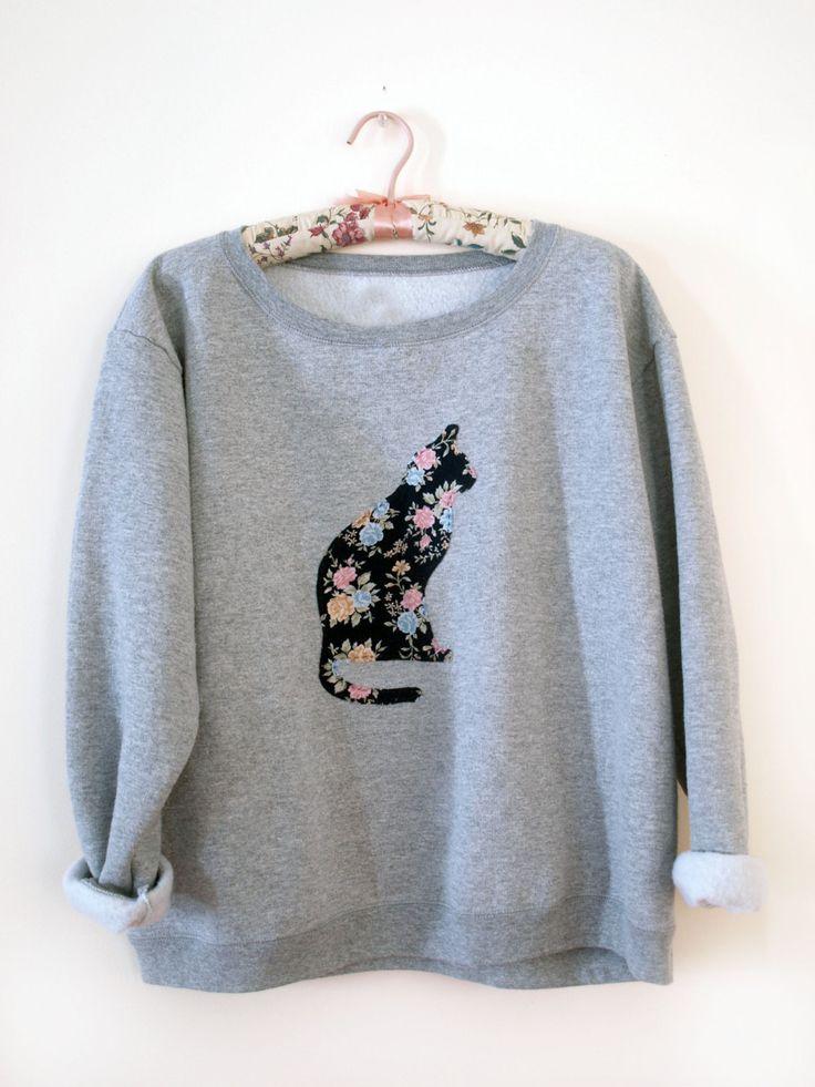 Floral Print Cat Crewneck Sweatshirt