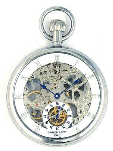 Charles-Hubert, Paris Limited Edition Chrome Plated Open Face Mechanical Pocket Watch Charles-Hubert, Paris. Save 17 Off!. $189.96. 17 jewel mechanical movement with shock protection. Roman Numeral Dial. Chrome plated 51mm open face case dual display crystals. Matching Curb Chain. Deluxe gift box