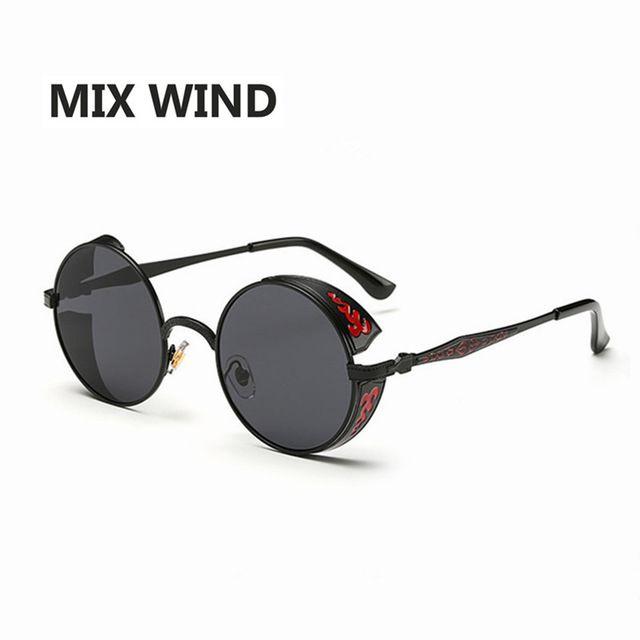 Mix Rüzgar Güneş Gözlüğü Retro Güneş Gözlüğü Erkekler ve kadınlar Steampunk Yuvarlak Metal Çerçeve Güneş Gözlükleri Ayna Oyma Gözlük Marka Tasarımcısı
