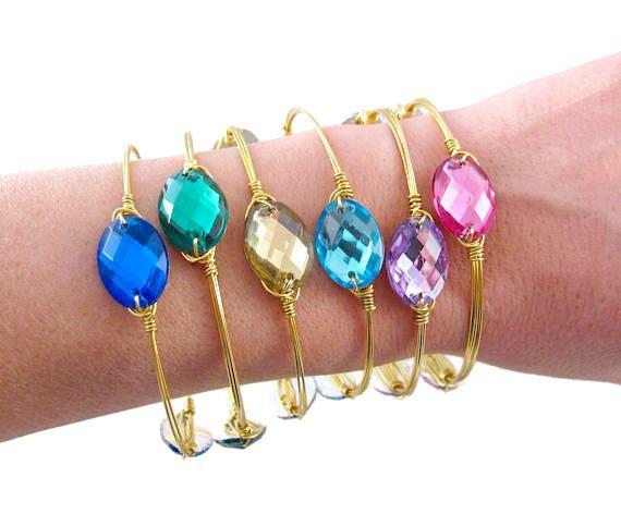 FREE Shipping Rainbow Jewelry. Blue Bangle Bracelet. Pink Bangles. Green Bracelet. Gold Plated Bracelet. Wire Wrapped Bangle. Bracelet Set by SecretStories