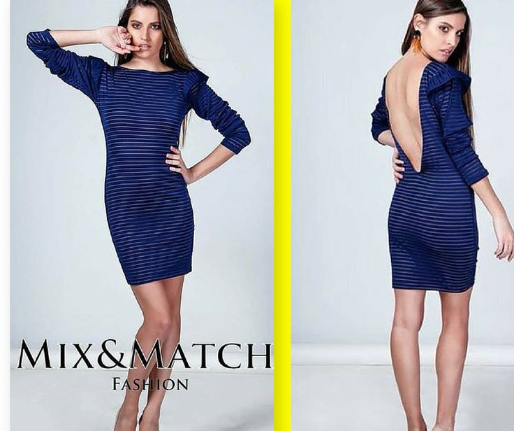 """""""Louise"""" Backless Pencil Blue Dress With Sheer Stripes - Mix&Match Showroom Dress  #Hip #Hipyourstyle #Tshirts #Woman #Womens #Look #LookBook #Fashion #Style #Dresses #Top #MixMatch #Brand #New_In #New_Arrivals #AW15 #Colletion #Fall #Winter #Rhodes #Greece"""