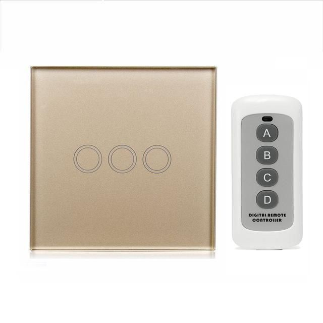 Euuk 3 gang 1 way remote control light switch crystal glass panel euuk 3 gang 1 way remote control light switch crystal glass panel touch switch touch wall light switch for smart home rf 433 mozeypictures Image collections
