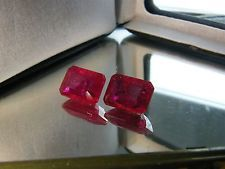 22 CTS 10X14 MM HUGE VERY FINE LAB CREATED RED RUBY OCTAGON/EMERALD PAIR