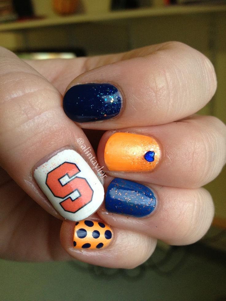 Syracuse university orange nail art