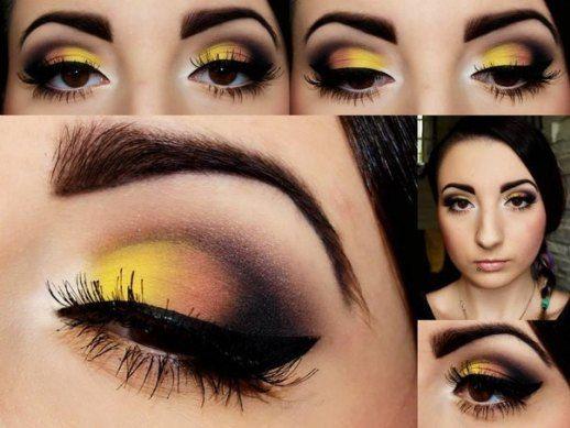 Maquillaje de ojo en tono amarillo y negro