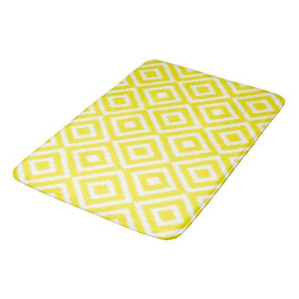 Hip Yellow Ikat Diamond Squares Mosaic Pattern Bathroom Mat  $42.05  by BathingAndBeaching  - custom gift idea
