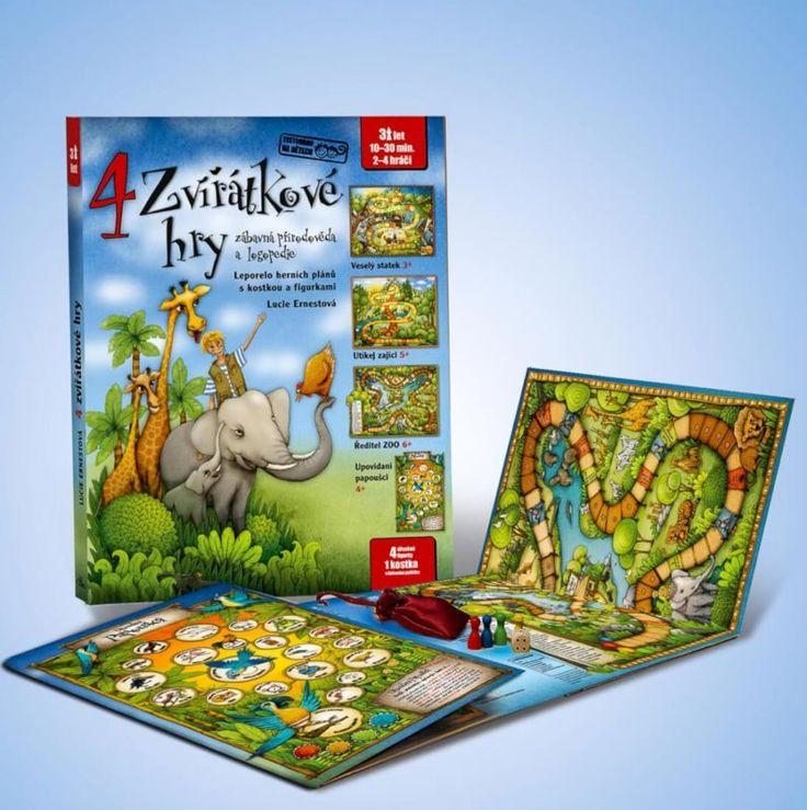4 zvířátkové hry – Leporelo herních plánů s kostkou a figurkami Stolní hry pro předškoláky a malé školáky, které zábavnou cestou seznamují děti s domácími, divokými i exotickými zvířaty. Soubor her je vyroben jako klasické leporelo z kašírovaného kartonu. Součástí balení je sáček z netkané textilie s dřevěnou kostkou a 4 figurkami. #exotickázvířata #hry #leporelo