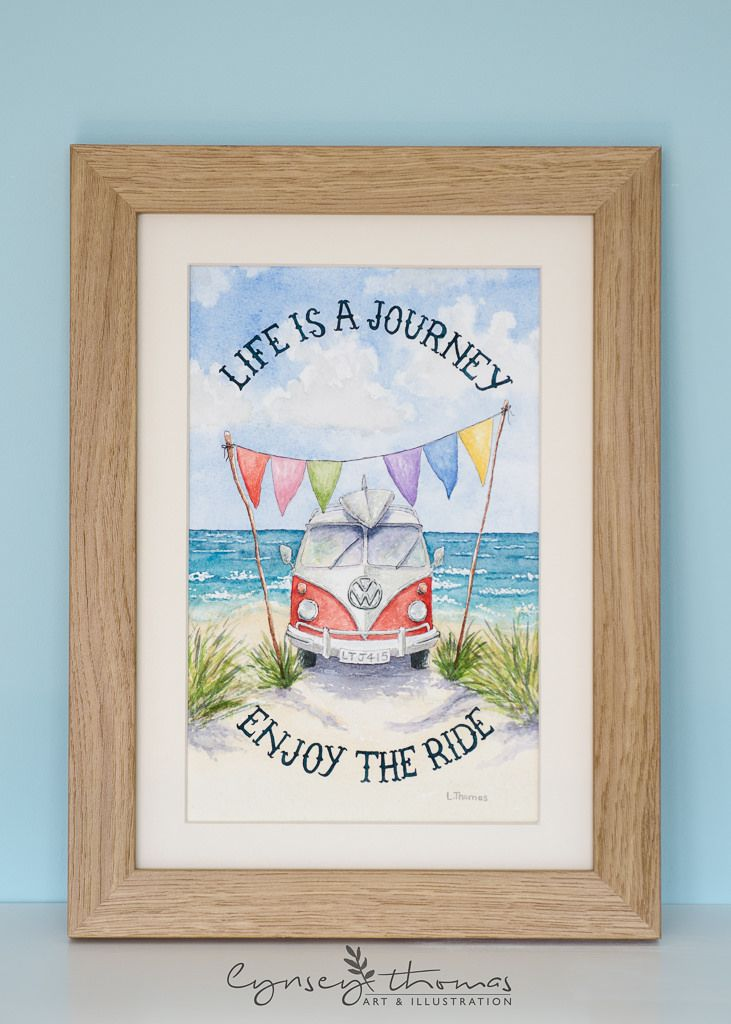 https://flic.kr/p/uz6pBU | VW Camper Van, Watercolour Illustration. Quote.
