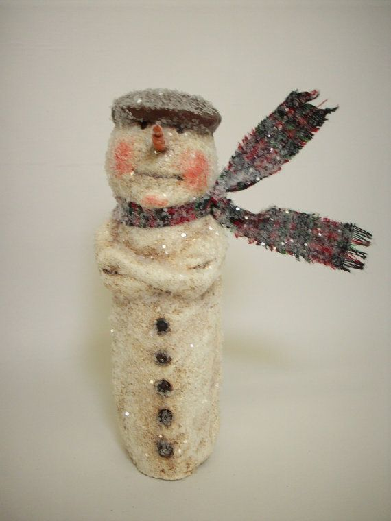 Paper Mache Folk Art Snowman