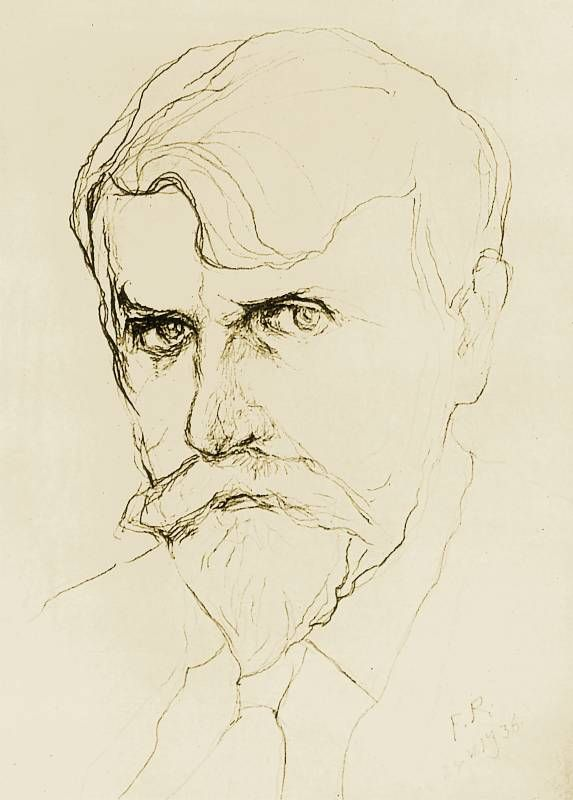 """lunacylover: """" Ferdynand Ruszczyc (Polish, 1870-1936), self-portrait drawn with the left hand during the last months of artist's life (since October 1932 Ruszczyc's right hand was paralyzed). """""""