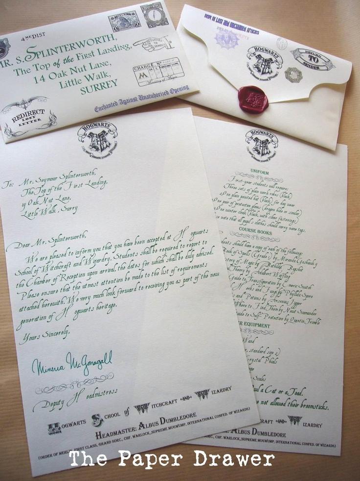 Customizable Hogwarts Acceptance Letter Hogwarts