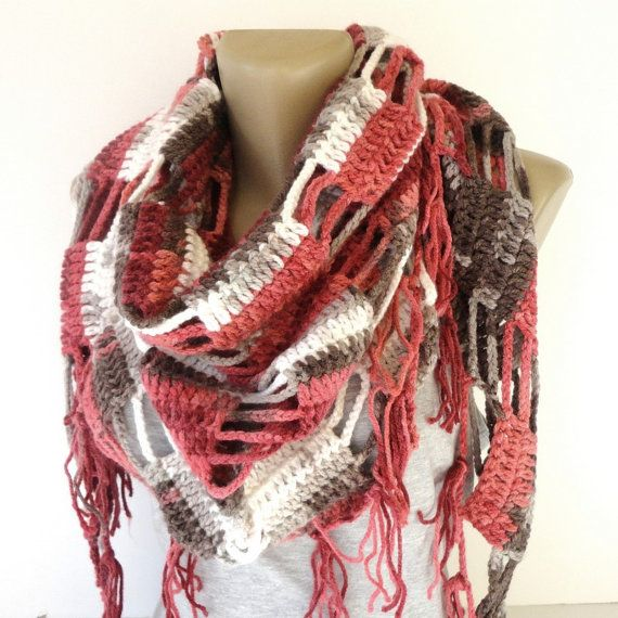 Valentines Day Gift ,pink brown crocheted scarf ,women scarves ,shawl scarves ,cowl ,neckwarmer ,winter fashion accessories , gift ideas on Etsy, $35.00