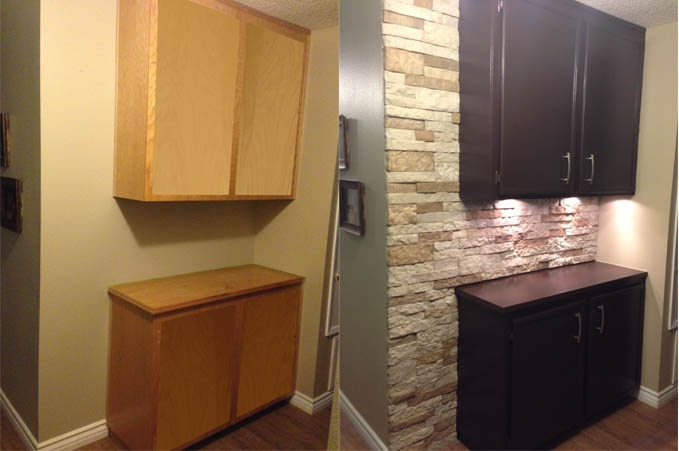 Just finished re-doing our hallway cabinets. We used Esspresso Rustoleum Cabinet Transformations and Airstone Brick for the back wall. My husband also installed lights under the cabinet. All for around$200 bucks. Couldn't be happier!