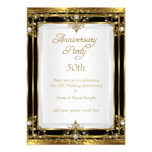 50th Wedding Anniversary Gold Black White Pearl