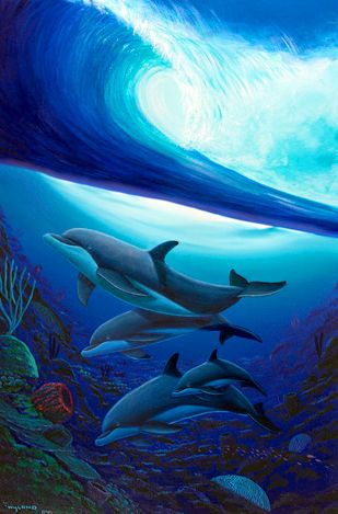 Below the Surf by Wyland - Dolphins Under the Waves