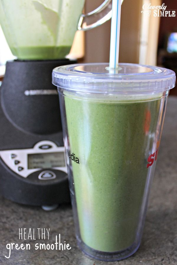 Healthy Green Smoothie Recipe made with banana and spinach.