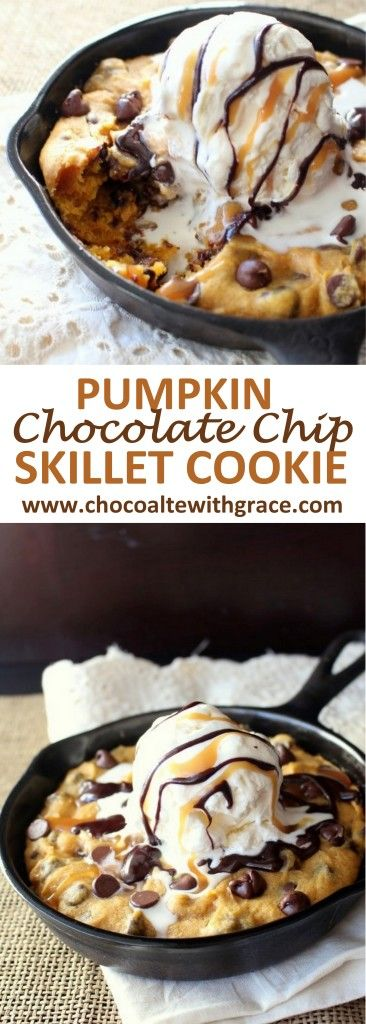 A special fall treat. This pumpkin Chocolate chip skillet cookie recipe is perfect for Thanksgiving for two. Or Christmas!