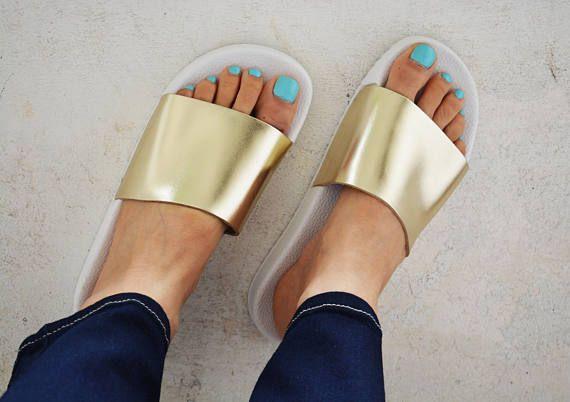 Gold Flip Flops Gold Beach Sandals Gold Slippers Sandals