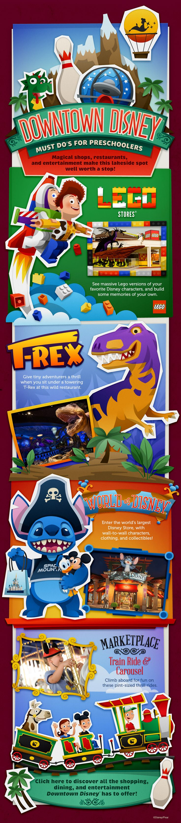 Downtown Disney Must Do's for Preschoolers! LEGO, T-REX, World of Disney, Marketplace Train Ride