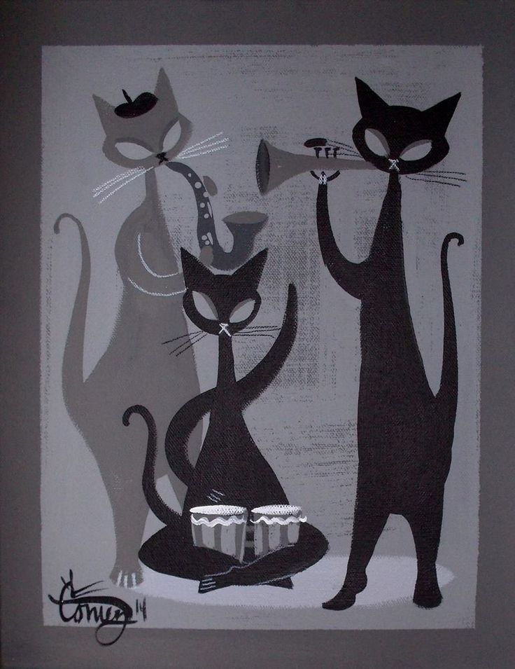 EL GATO GOMEZ PAINTING RETRO 1950S JAZZ CAT MID CENTURY MODERN BEATNIK BONGO MOD in Paintings | eBay