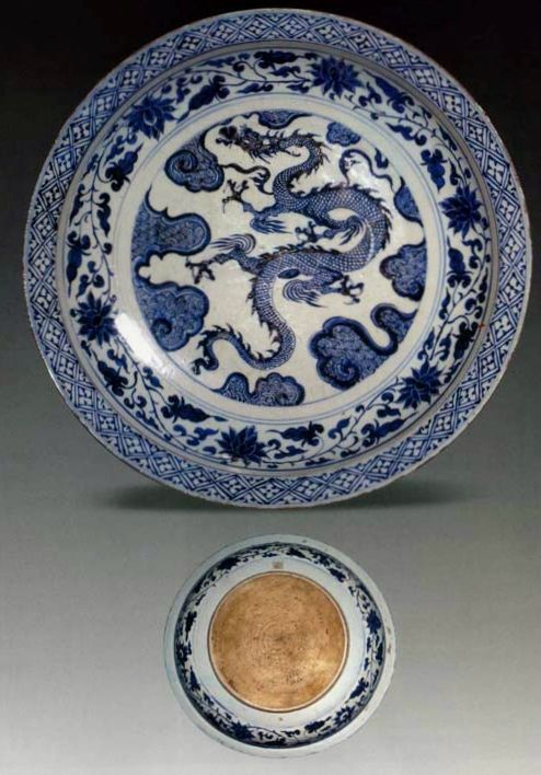 Charger, porcelain painted in underglaze blue with dragon and clouds, China, Yuan dynasty. National Museum of
