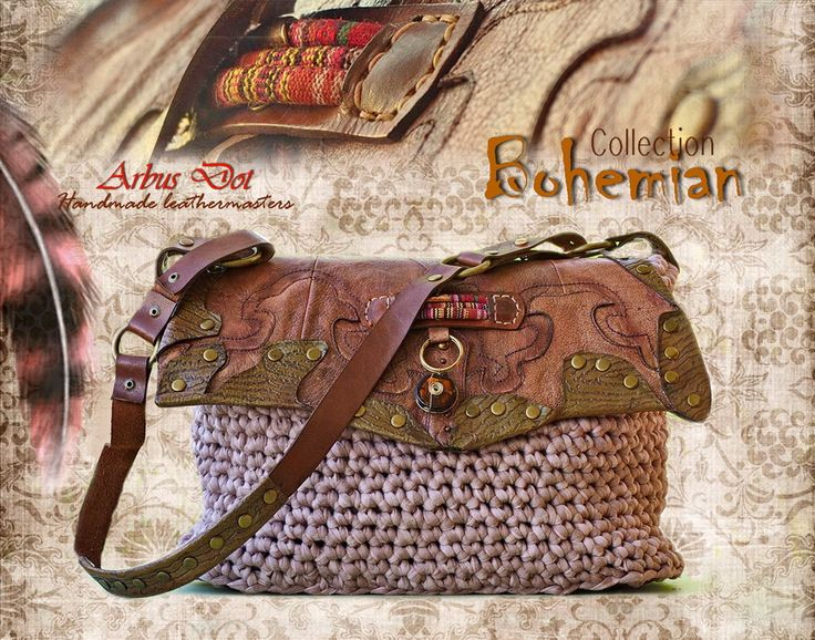 handmade leather-crochet bag from bohemian collection.
