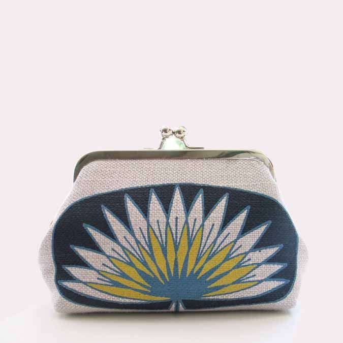 SQ Clip clutch purse in Lily Deep midnight blue, Winter blue & Dandelion yellow on Silver grey textured linen - great for a special cosmetic bag - little clutch or Lippy & money holder x suziequ.co.uk