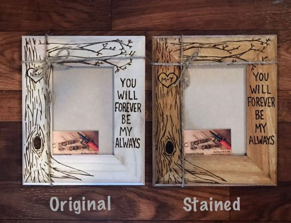 Tree Picture Frame Wood Burned Heart Initials Engraved Wood