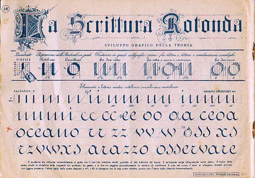 Scrittura Rotonda - Modelli di Calligrafia per le Scuole Medie - Metodo Prof. Francesco La Manna (1947-48)