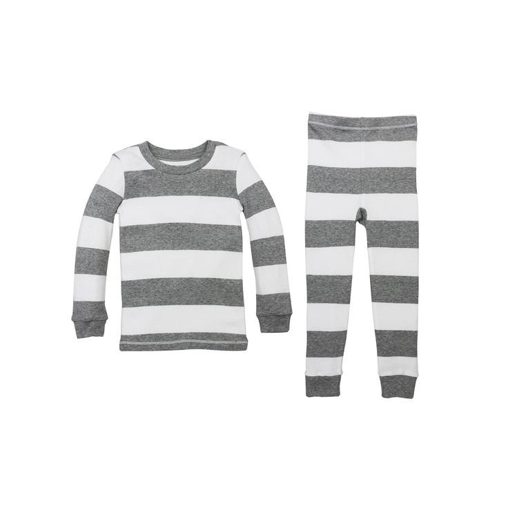Toddler Burt's Bees Baby Organic Rugby Stripe Pajama Set, Kids Unisex, Size: 2T, Light Grey