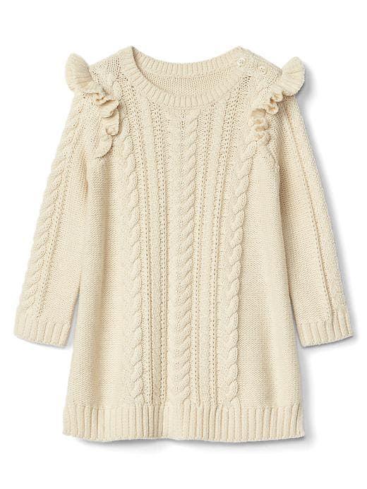 Gap Baby Cable Knit Ruffle Dress French Vanilla