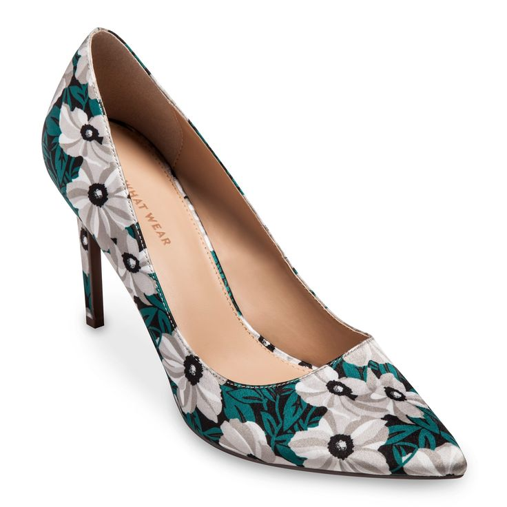 Women's Ally Printed Satin Pumps Who What Wear - Green 7.5