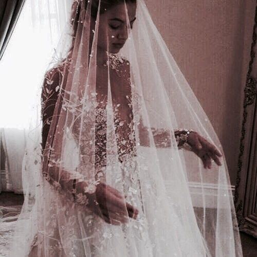 Stunning wedding dress and veil!