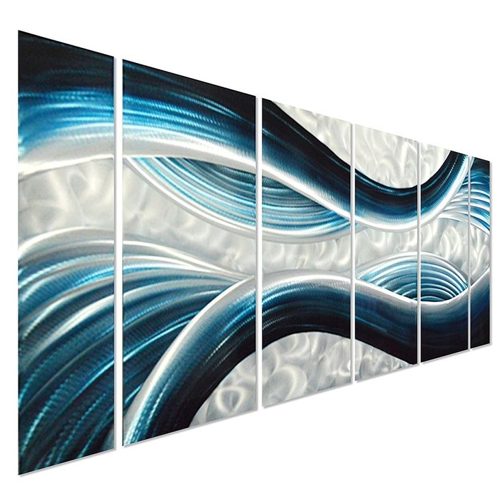 """Amazon.com: Pure Art Blue Desire Metal Wall Art, Large Scale Decor in Abstract Ocean Design, 3D Wall Art for Modern and Contemporary Decor, 6-Panels Measures 24""""x 65"""", Great for Indoor and Outdoor Settings: Home Improvement.  'The links used are affiliate links. By buying through the links I may receive a commission for the sale. This has no effect on the price for you.'"""
