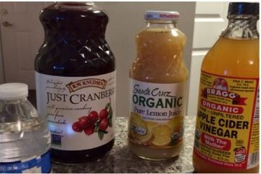 1. 6 OZ. filtered (alkaline) water 2. 2 OZ unsweetened Cranberry juice (no fruit cocktails or fruit juice)  3. 1 OZ organic lemon juice (or REAL squeezed lemon)  4. 1/2 to 1 TSP of Braggs apple cider vinegar. This detox flushes kidney, bladder, urinary tract, eliminates waste, decreases water retention and balances the PH. Drink before each meal